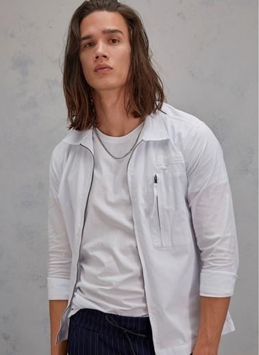 Pi π Fermuar Detaylı Gömlek Beyaz
